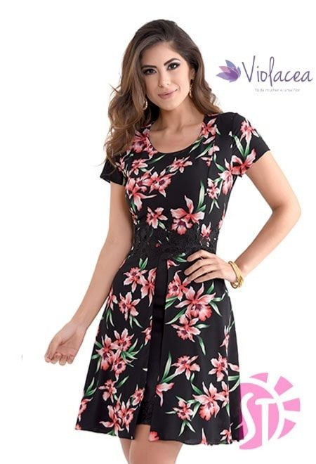 Vestido Floral em Crepre com Gripir Aline Barros - Sol da Terra