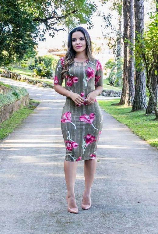 Vestido Justo Estampado - Moda Evangelica