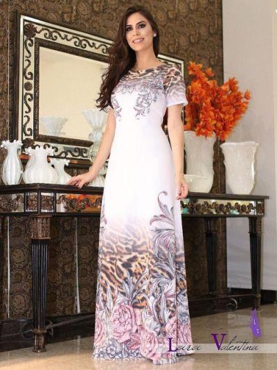 b72d497474 Vestido Longo Lara Valentina Rosas e Onça - Moda Evangelica - Moda e ...