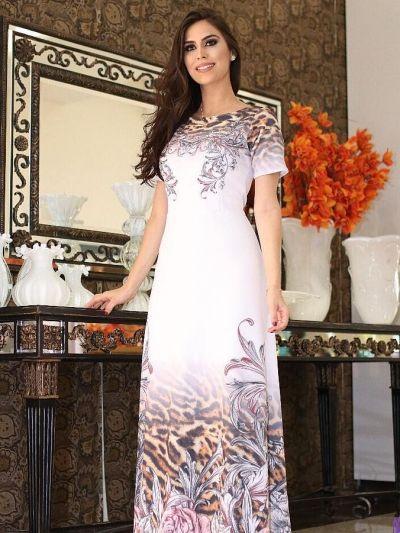 Vestido Longo Lara Valentina Rosas e Onça - Moda Evangelica