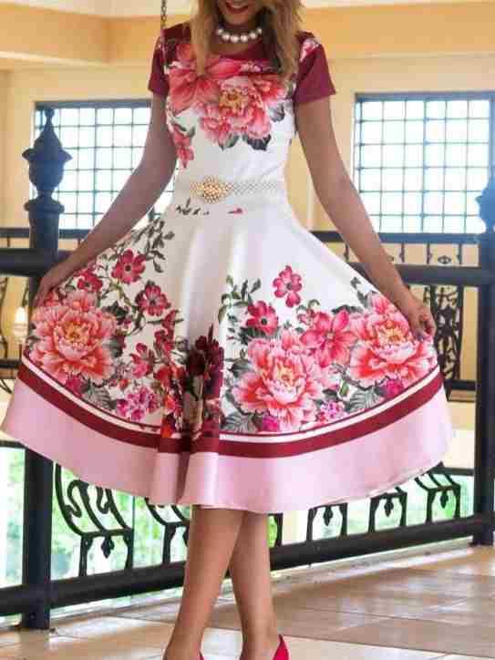 7a07d592c ... Vestido Midi Encanto da Flores Vermelhas - Moda Evangelica ...