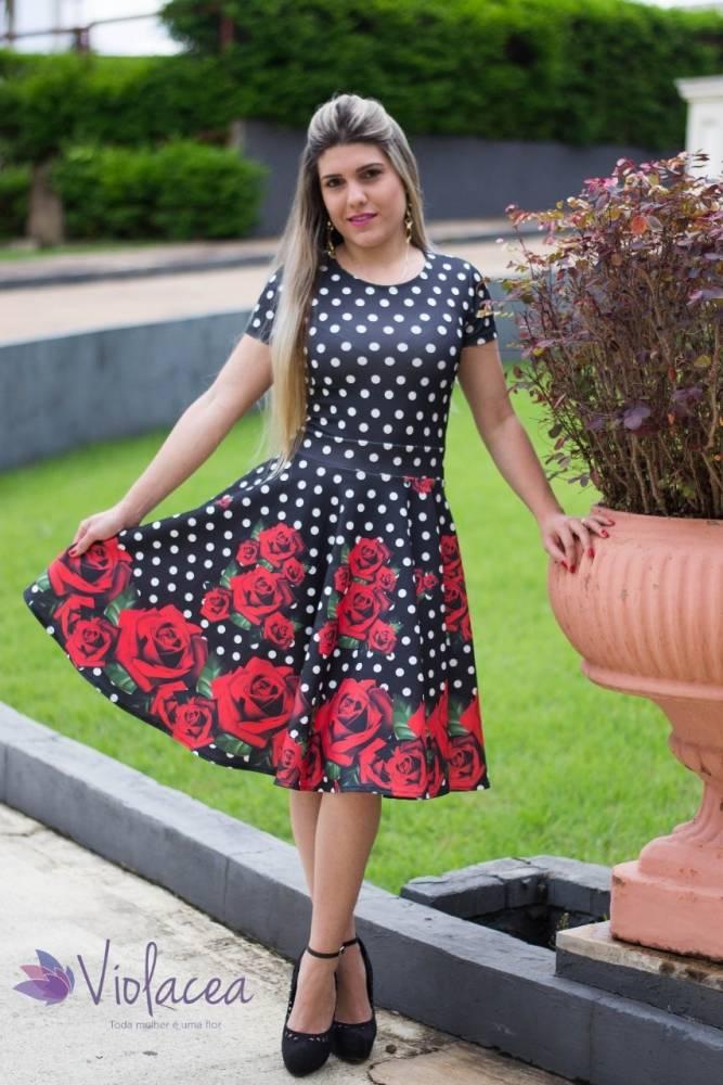 Vestido Midi Encanto Rosas Vermelhas