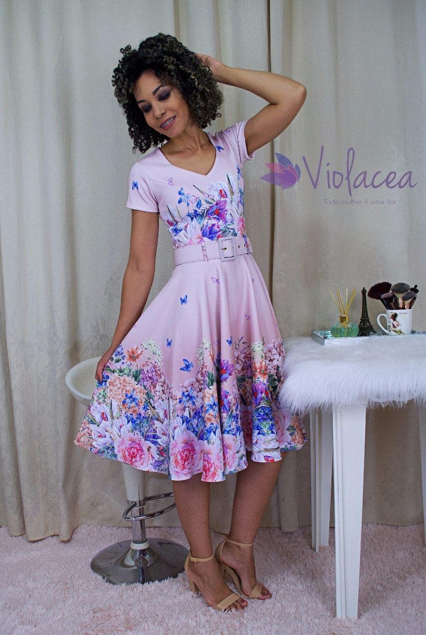 Vestido Midi Jardim das Borboletas  - Moda Evangelica