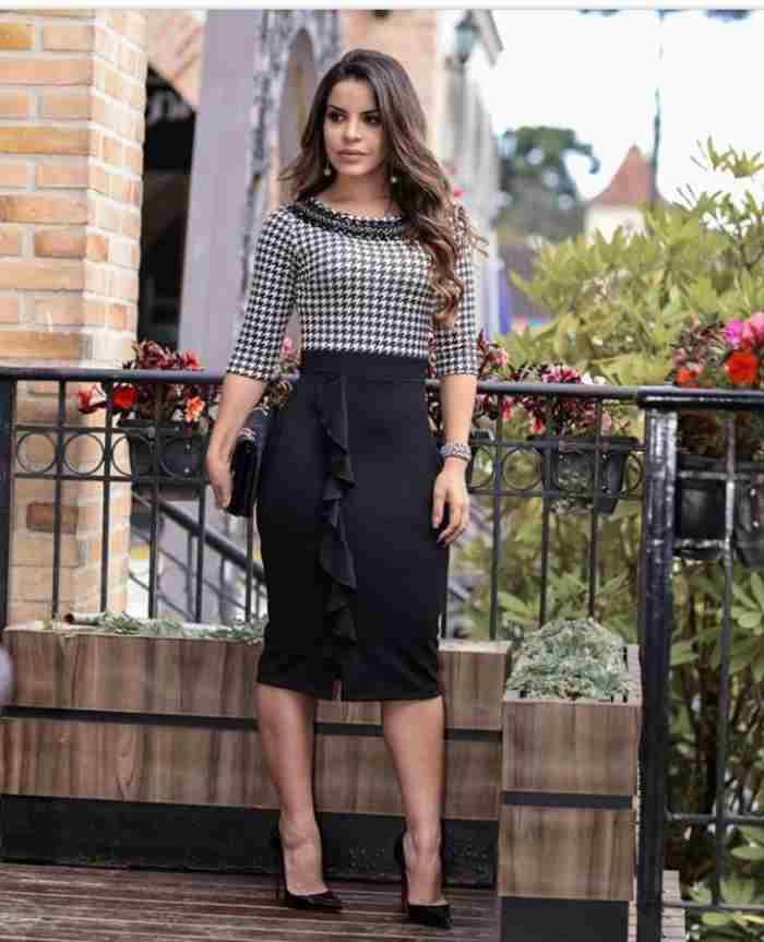 Vestido Paola Bordado com Pedras - Moda Evangelica