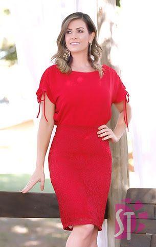 Vestido Plus Size Vermelho Saia Rendas