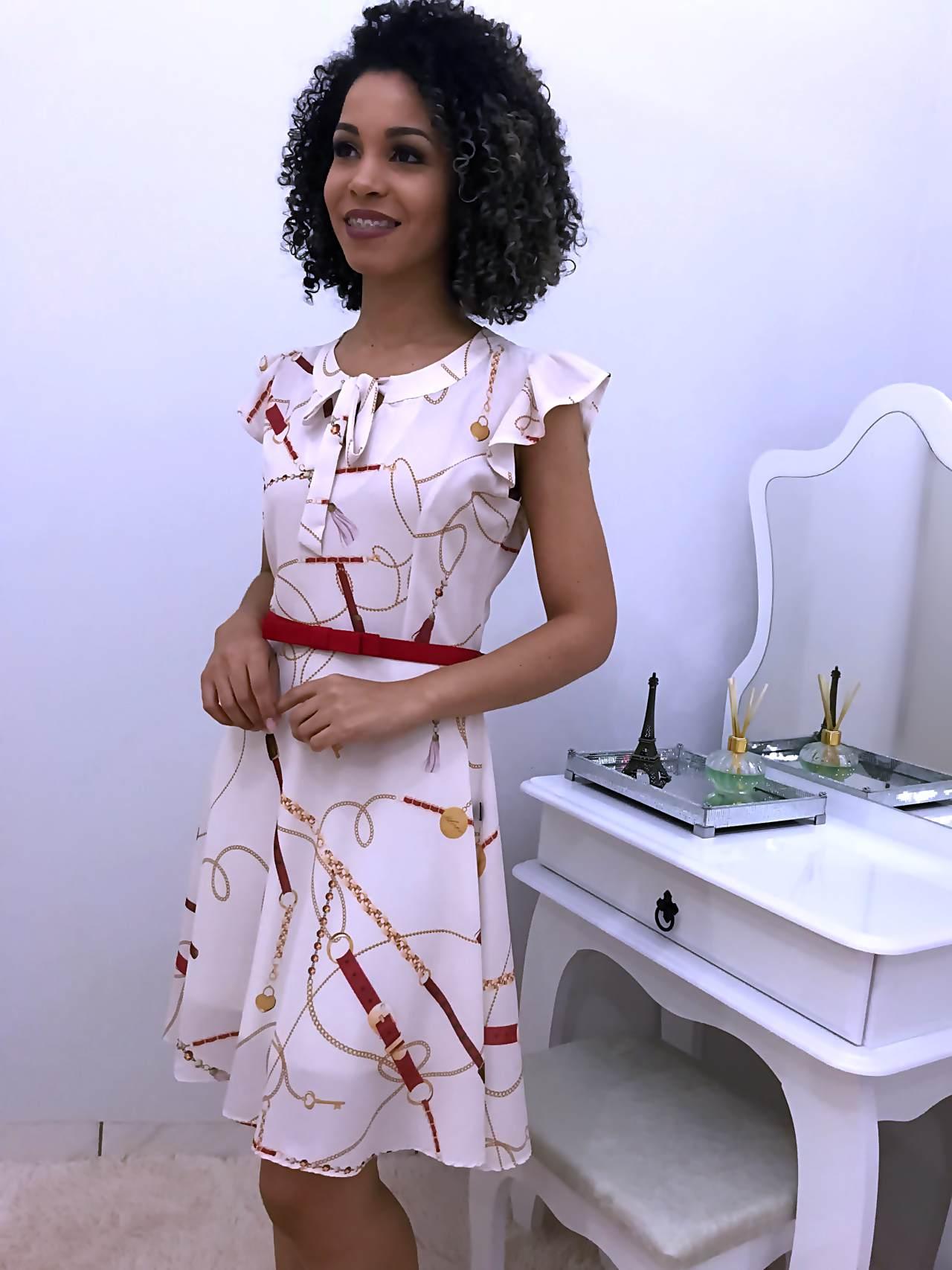 Vestido Rodado Correntes - Moda Evangelica