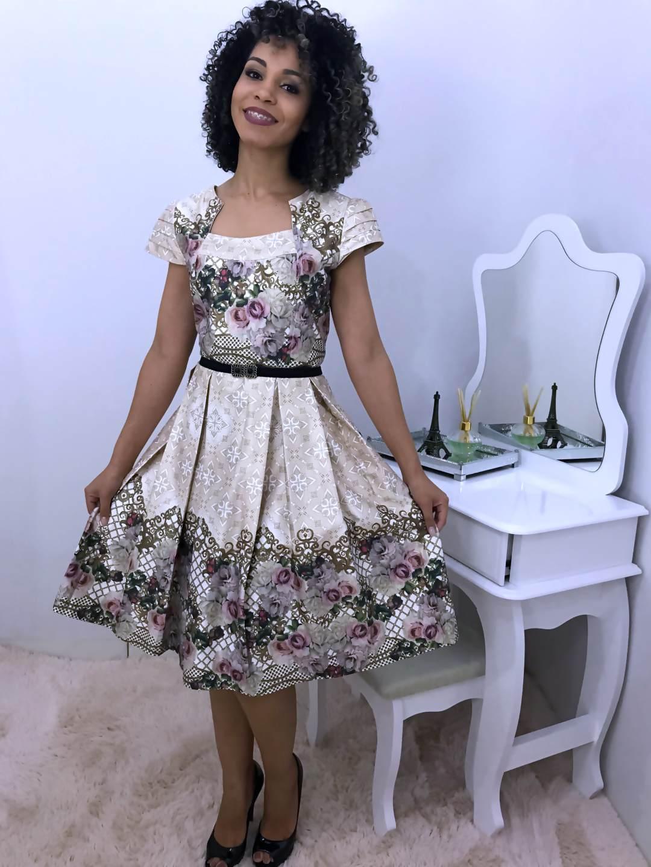 Vestido Rodado e Estampado - Moda Evangelica