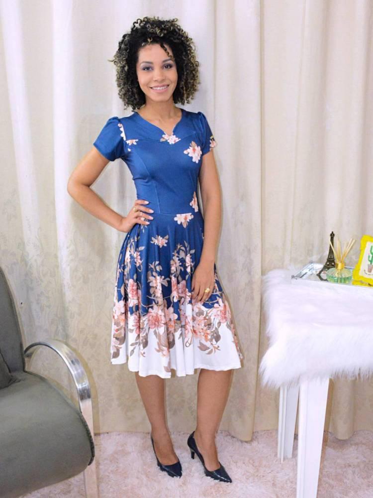 Vestido Rodado Jardim das Flores Azul e Branco