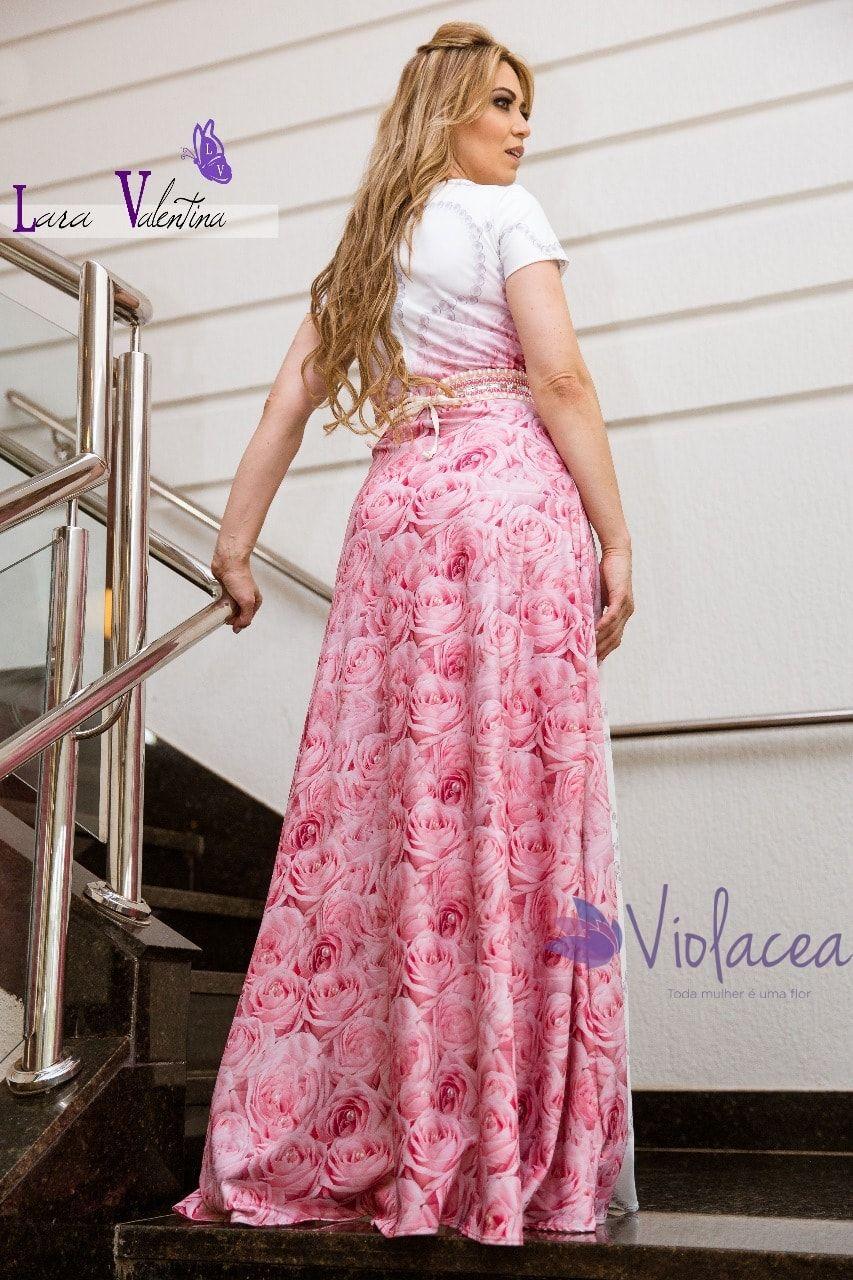 Vestido Rosas e Pérolas Lara Valentina Coleção Elaine de Jesus