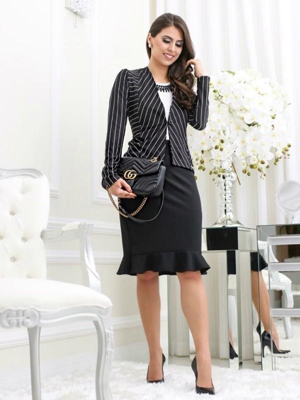 Moda Evangelica Vestido Social Com Blazer Listras Moda E