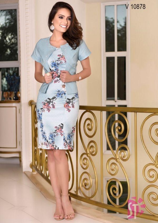 56213eacd Vestido Sol da Terra Floral com Casaco Moda Evangélica - Moda e ...