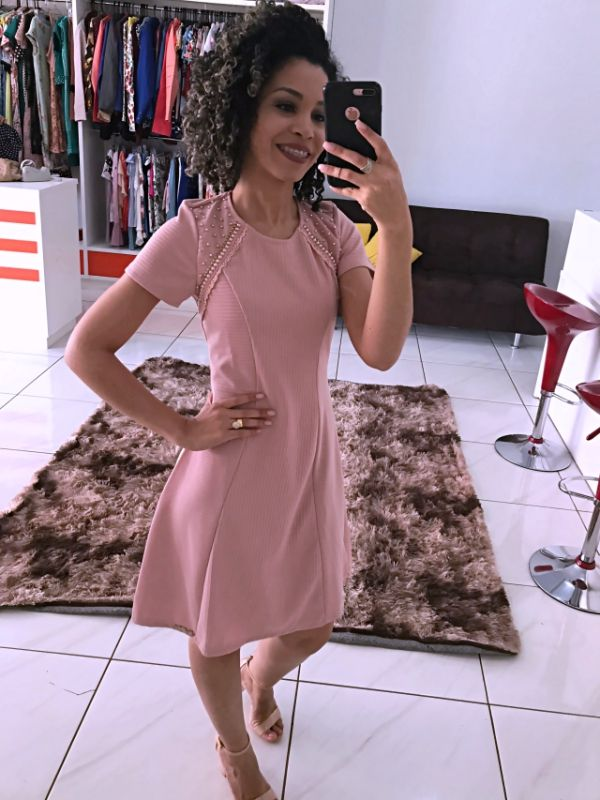 Moda Evangelica - Vestido Teen Zunna Ribeiro Rosa