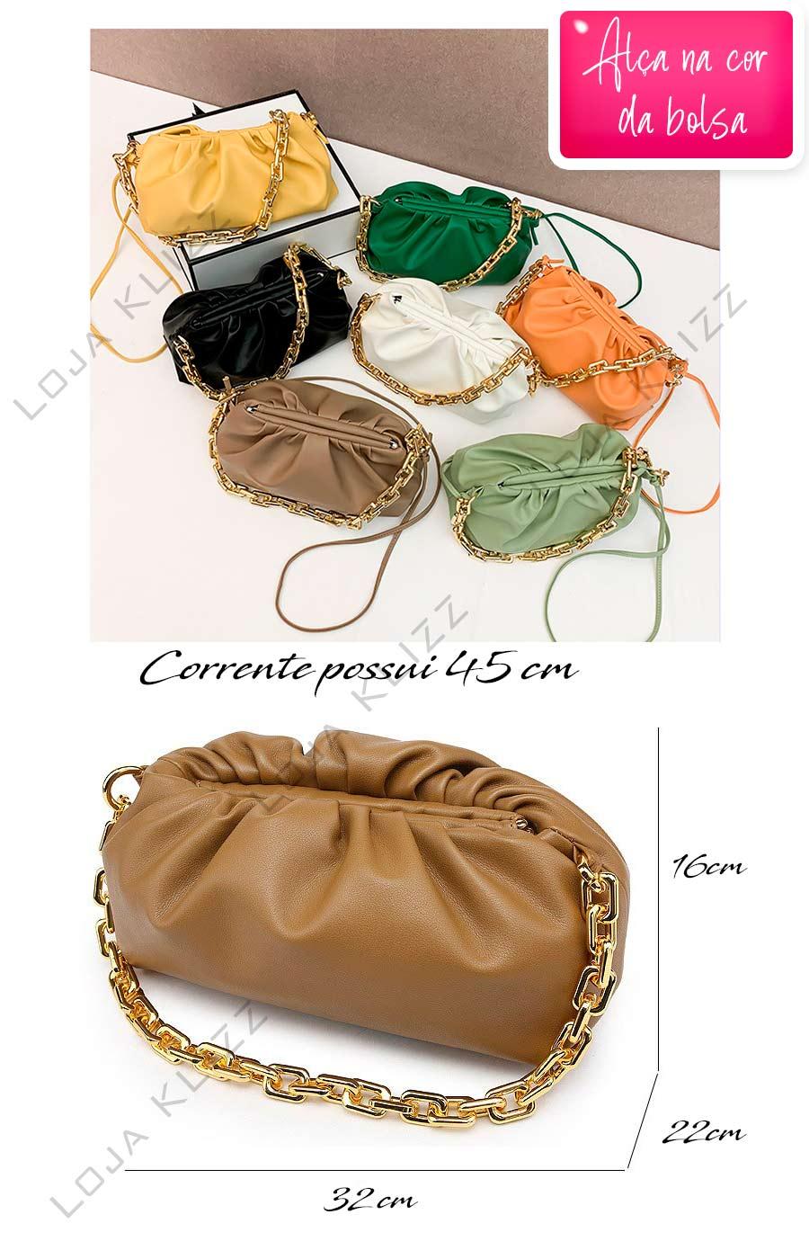 Bolsa Feminina KLIZZ Chain Em Couro Corrente Dourada Luxo