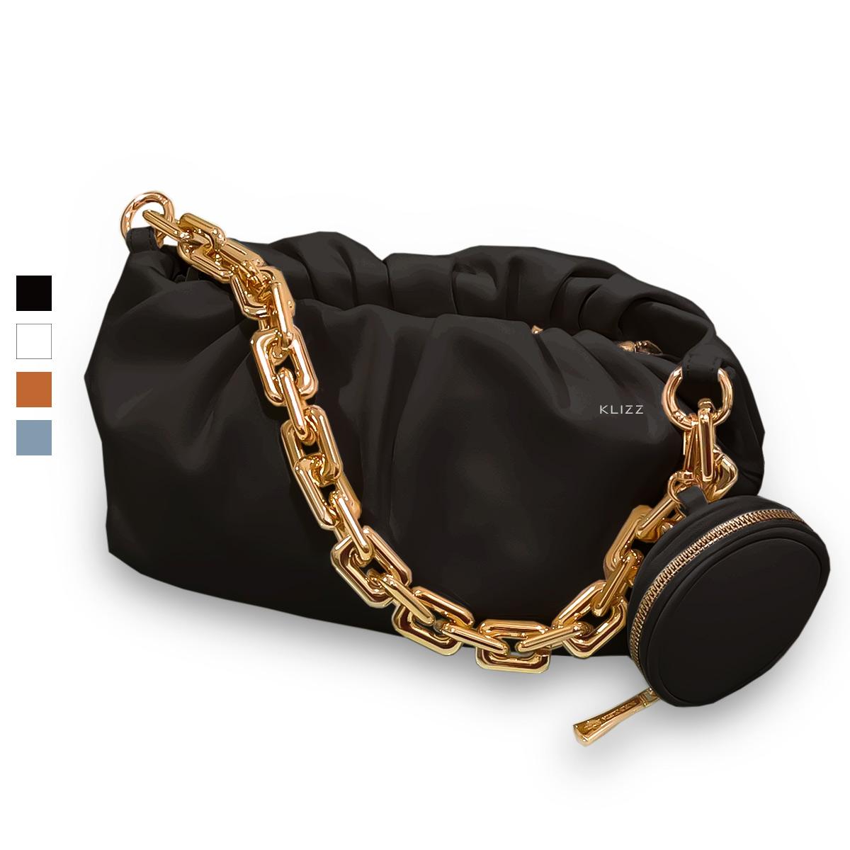 Bolsa Feminina KLIZZ Chain Em Couro Zíper Corrente Dourada