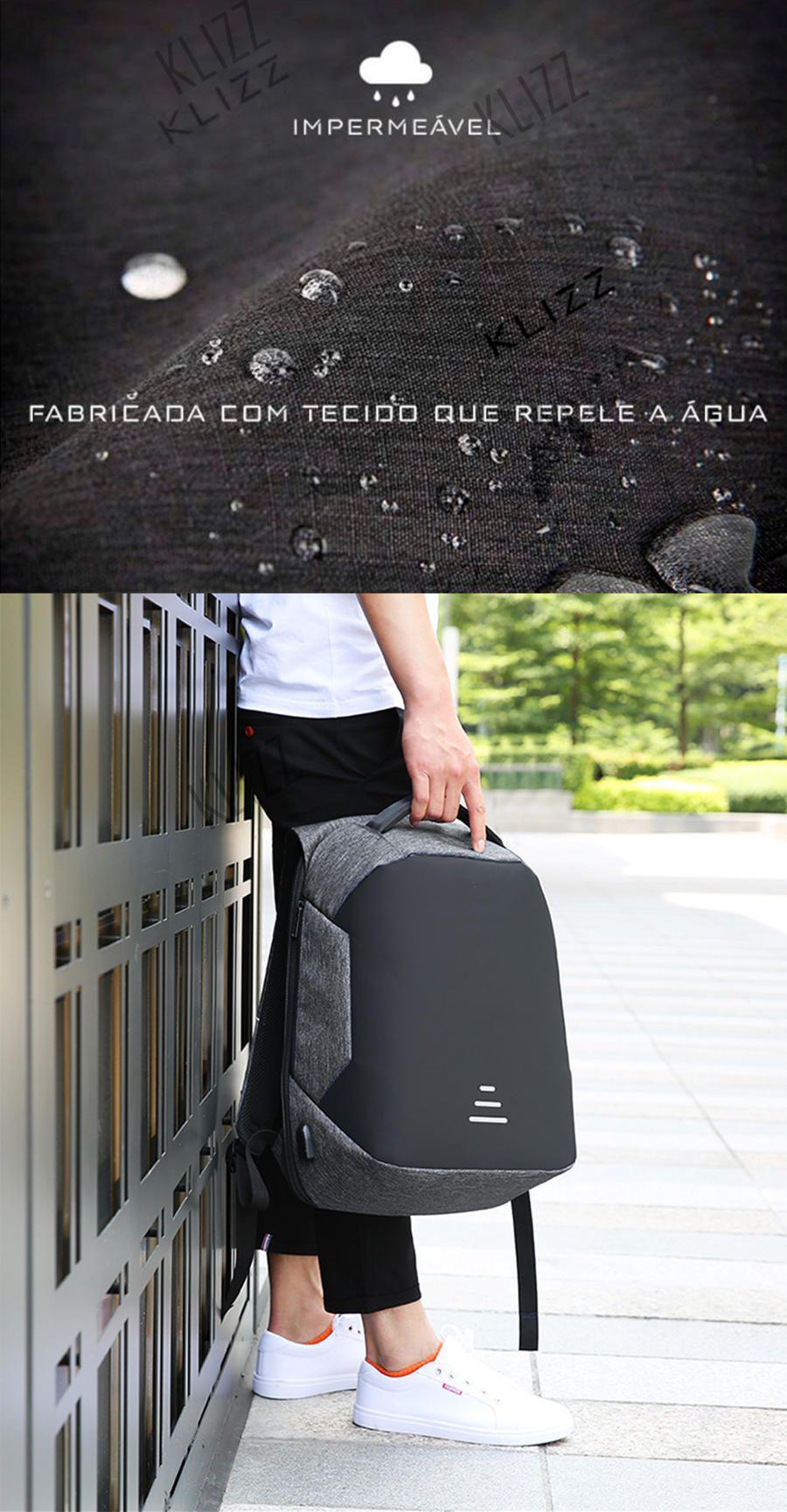 Mochila Antifurto Baibu Com Usb Notebook Impermeável  - KLIZZ