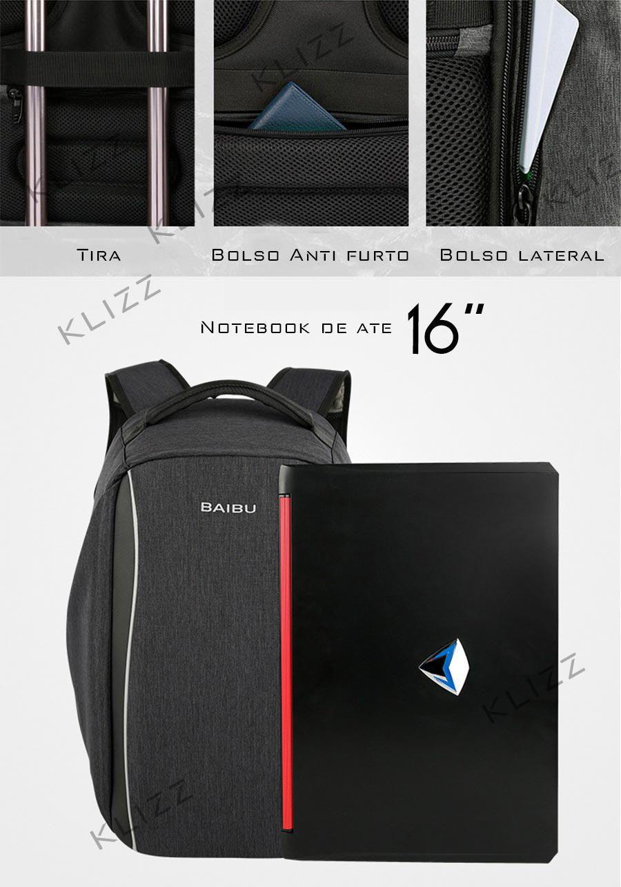 Mochila Antifurto Baibu Sistema USB Notebook Impermeável  - KLIZZ