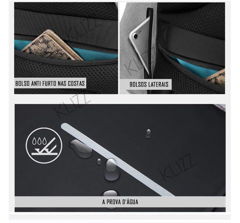 Mochila Antifurto K.K Usb Notebook 15.6 Impermeável  - KLIZZ