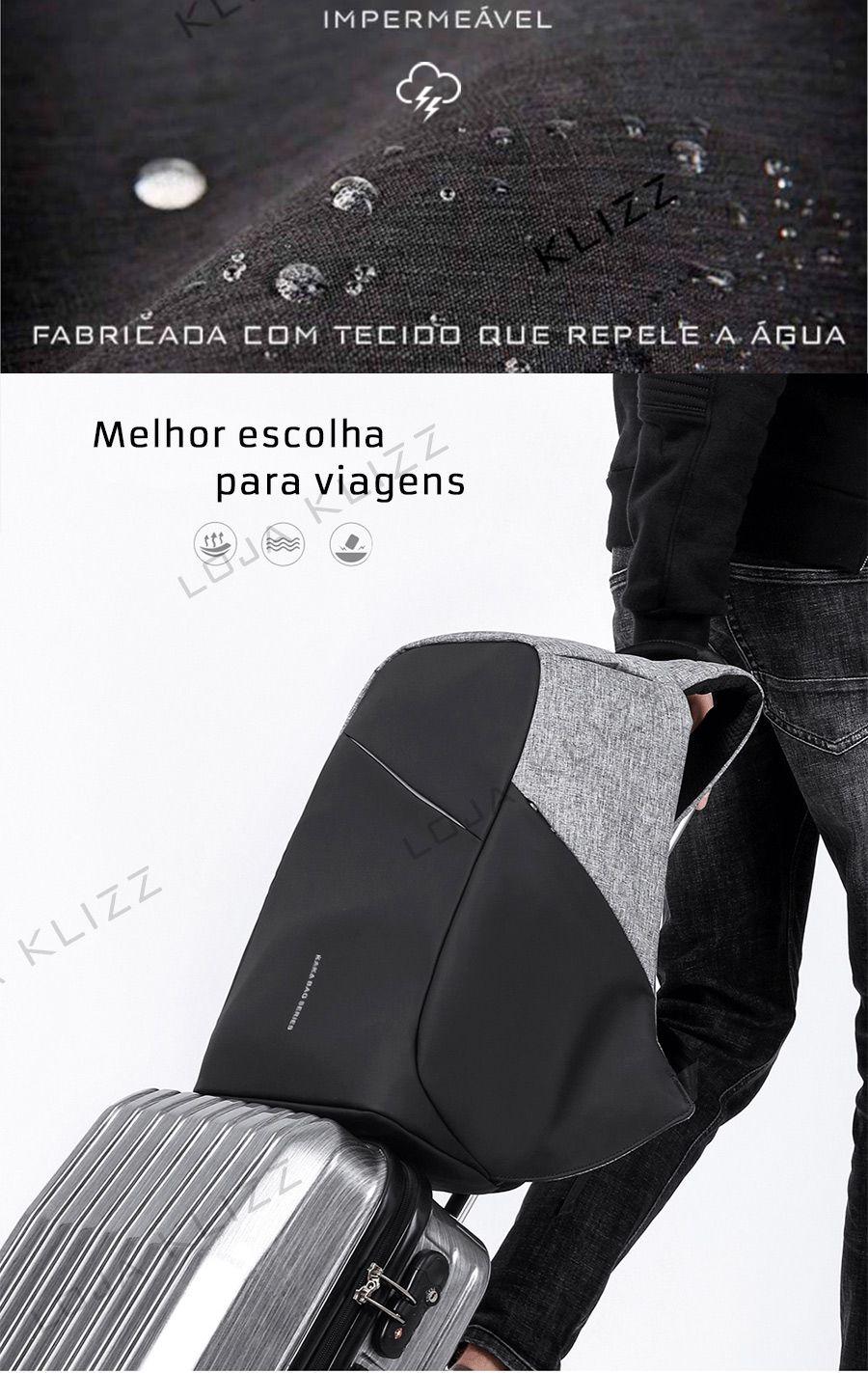 Mochila Antifurto K.K Usb Notebook 15,6 Impermeável City  - KLIZZ