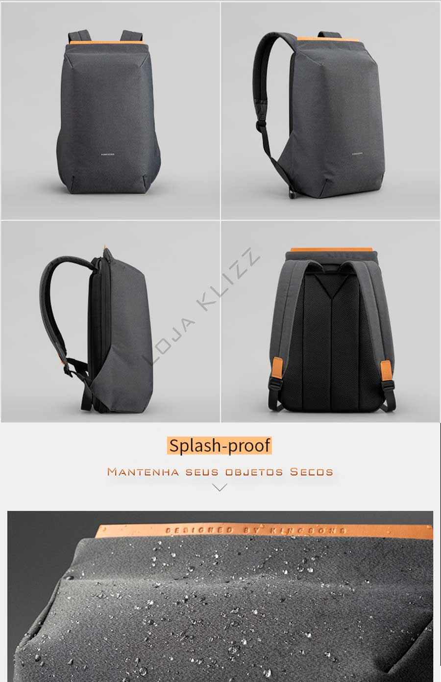 Mochila Antifurto USB Kingsons Notebook Impermeável Minimalista