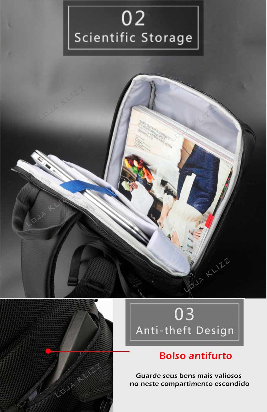 Mochila Antifurto Kingsons Usb Crossbody Unissex  Impermeável  - KLIZZ