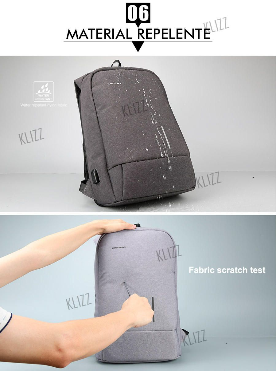 Mochila Antifurto Kingsons USB Notebook 15,6 Impermeável  - KLIZZ