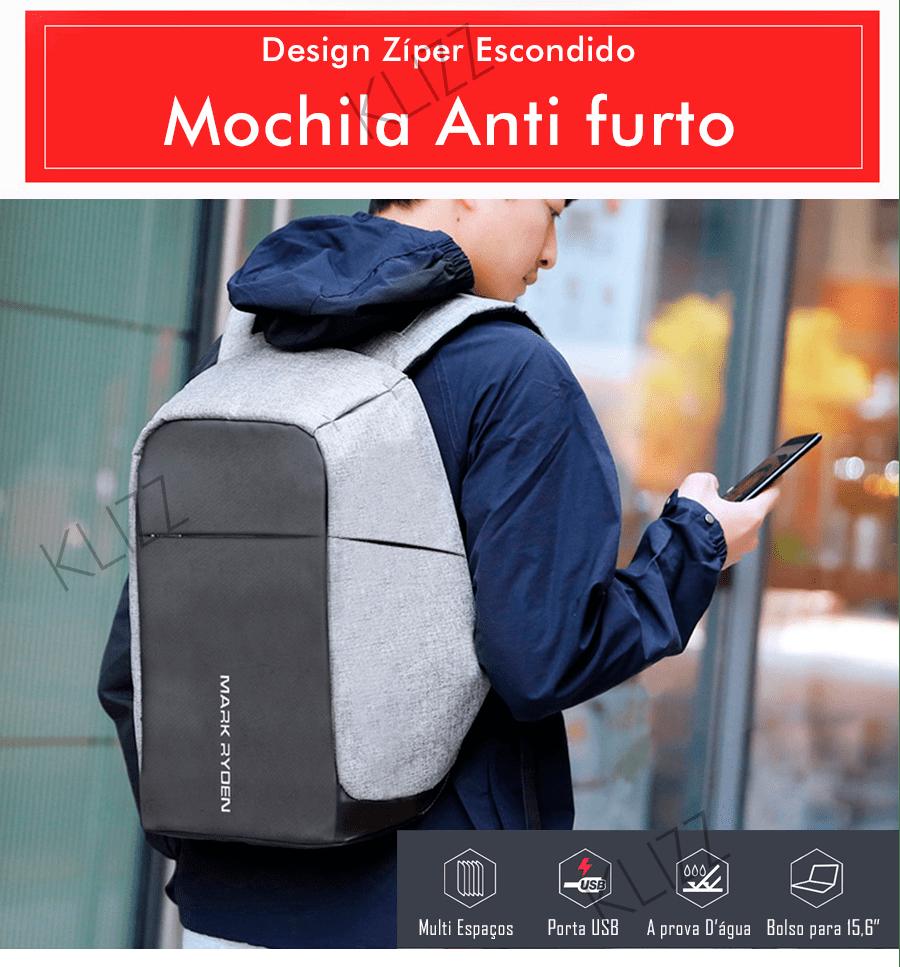 Mochila Antifurto Mark Ryden Usb Notebook Impermeável  - KLIZZ