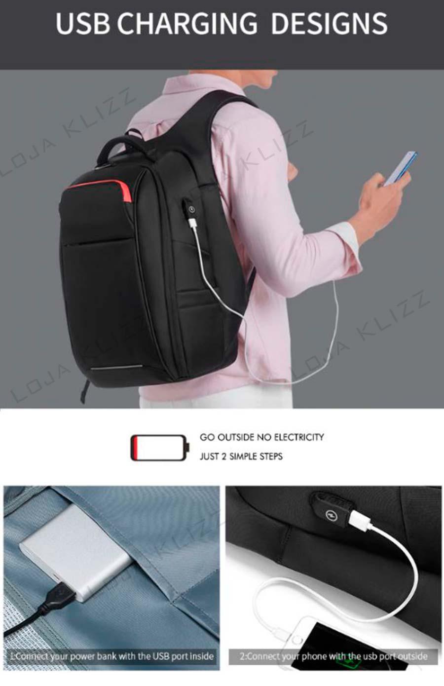 Mochila Antifurto NGR Com Usb Notebook Impermeável Grande Capacidade
