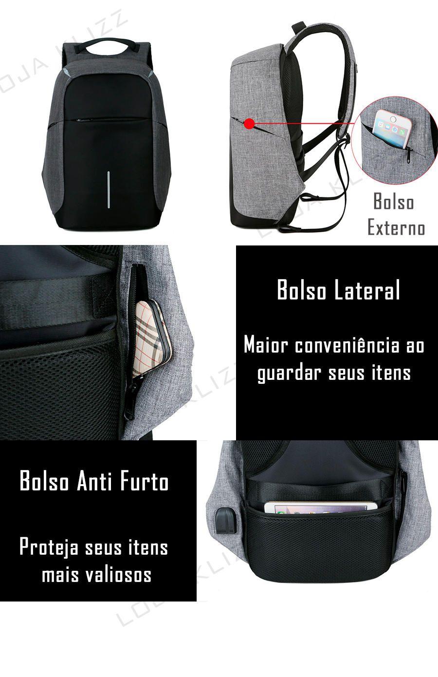 Mochila Antifurto STP Usb Notebook Com Saída Para Fone De Ouvido  - KLIZZ