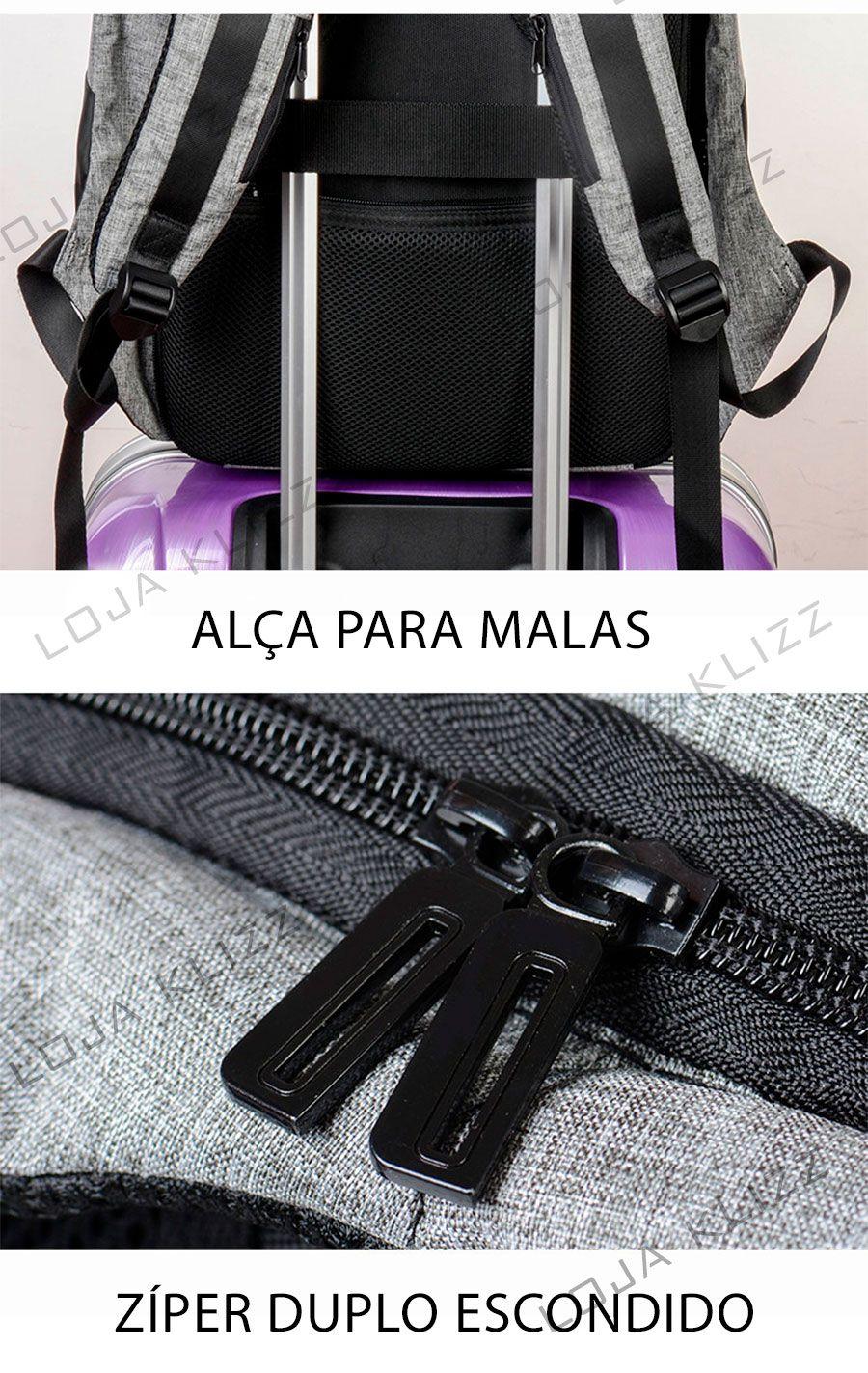 Mochila Antifurto Svviss Usb Notebook Saida P2 Fone De Ouvido Impermeável  - KLIZZ