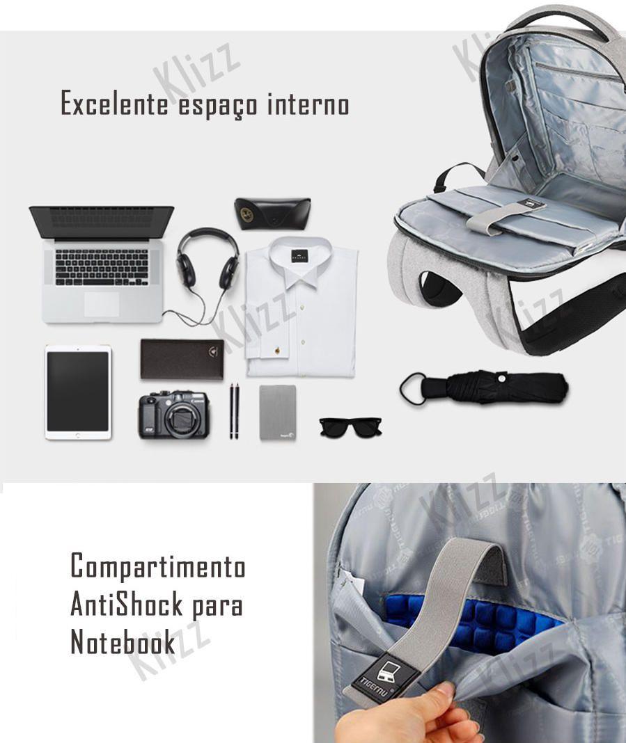 Mochila Antifurto Tigernu com Usb Notebook impermeável  - KLIZZ