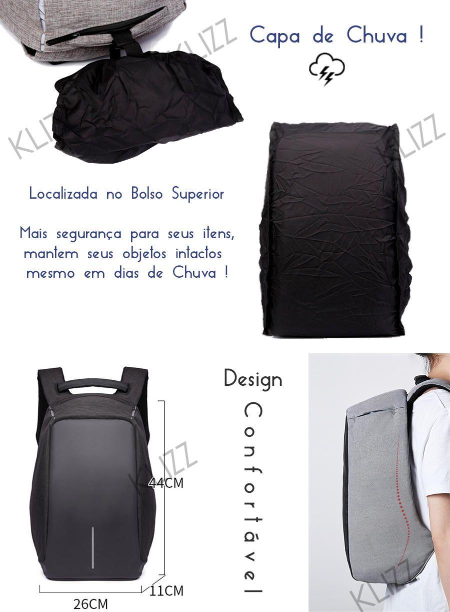 Mochila Antifurto Usb Notebook com Capa De Chuva Integrada