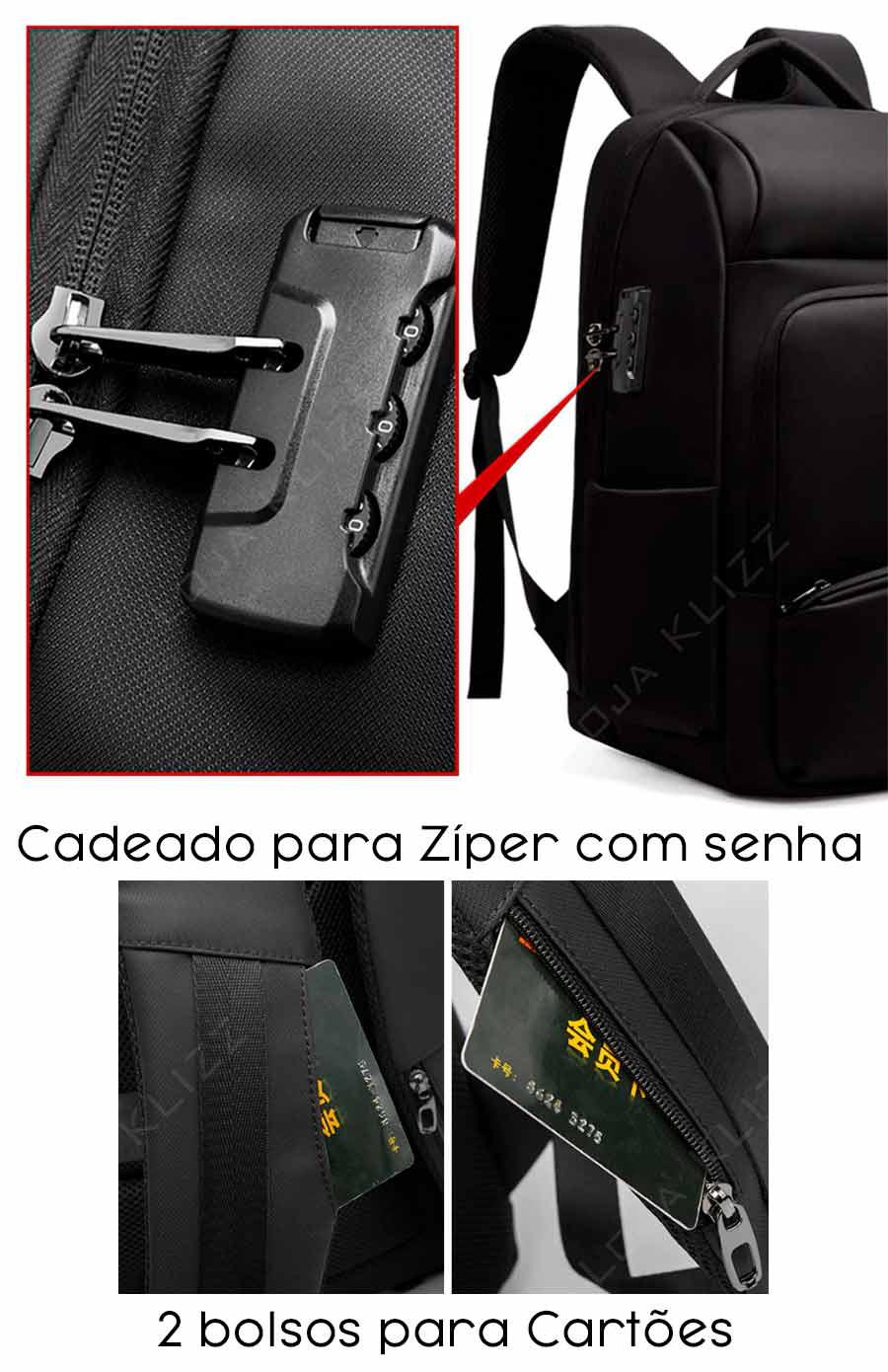 Mochila Bolsa Antifurto USB Notebook 17 Cadeado e Capa Chuva