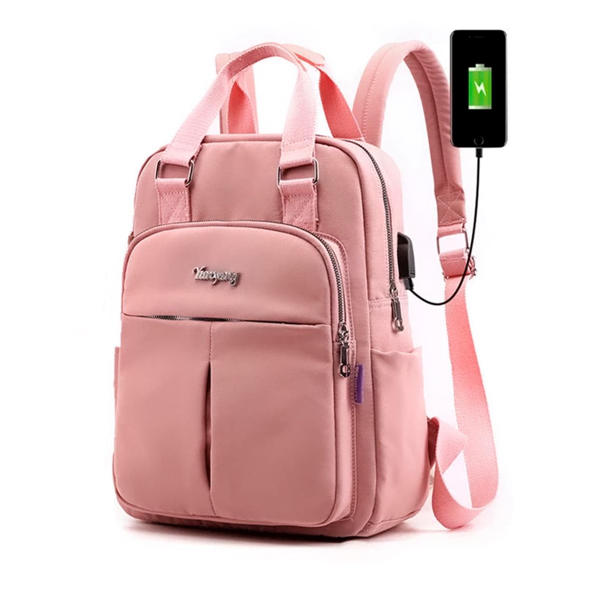 Mochila Bolsa Feminina Antifurto USB Impermeável Casual