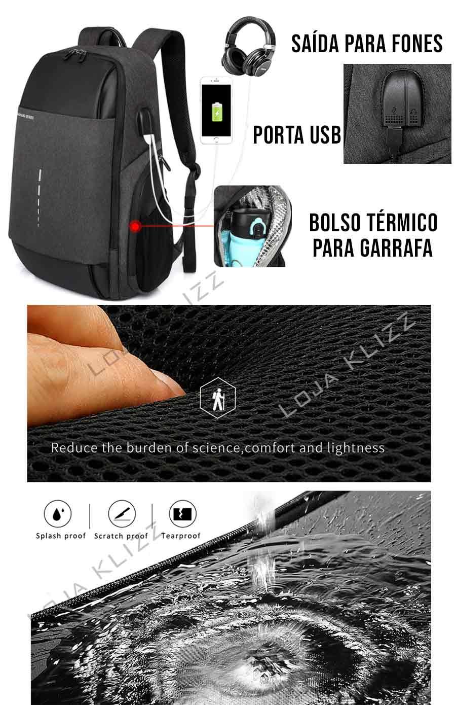 Mochila Bolsa Masculina Usb Fone P2 Notebook 17 Impermeável