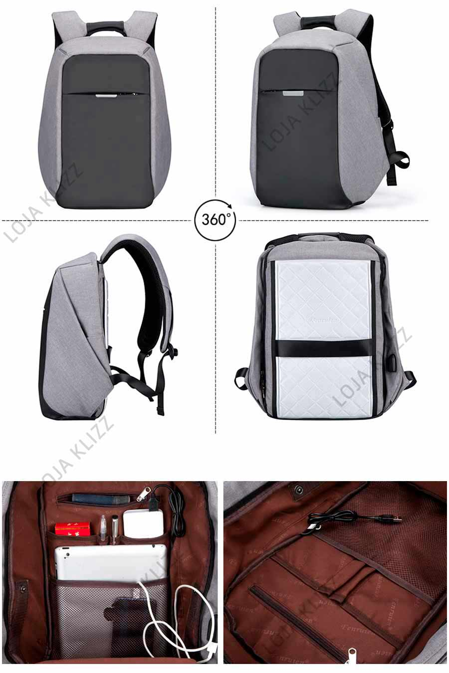 Mochila FR Antifurto com USB Notebook Impermeável   - KLIZZ