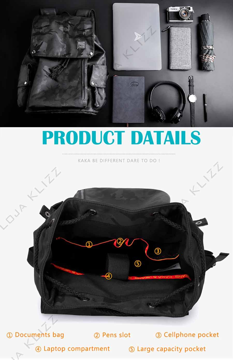 Mochila K.K Antifurto Usb Notebook Camuflada Impermeável Premium  - KLIZZ