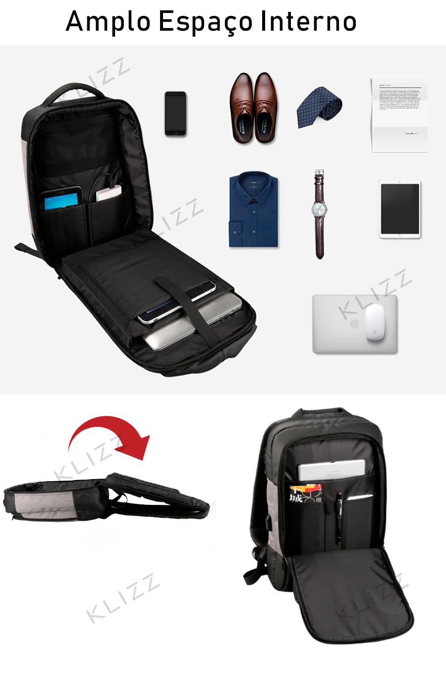Mochila Kingsons Usb Notebook 15.6 Impermeável - KLIZZ