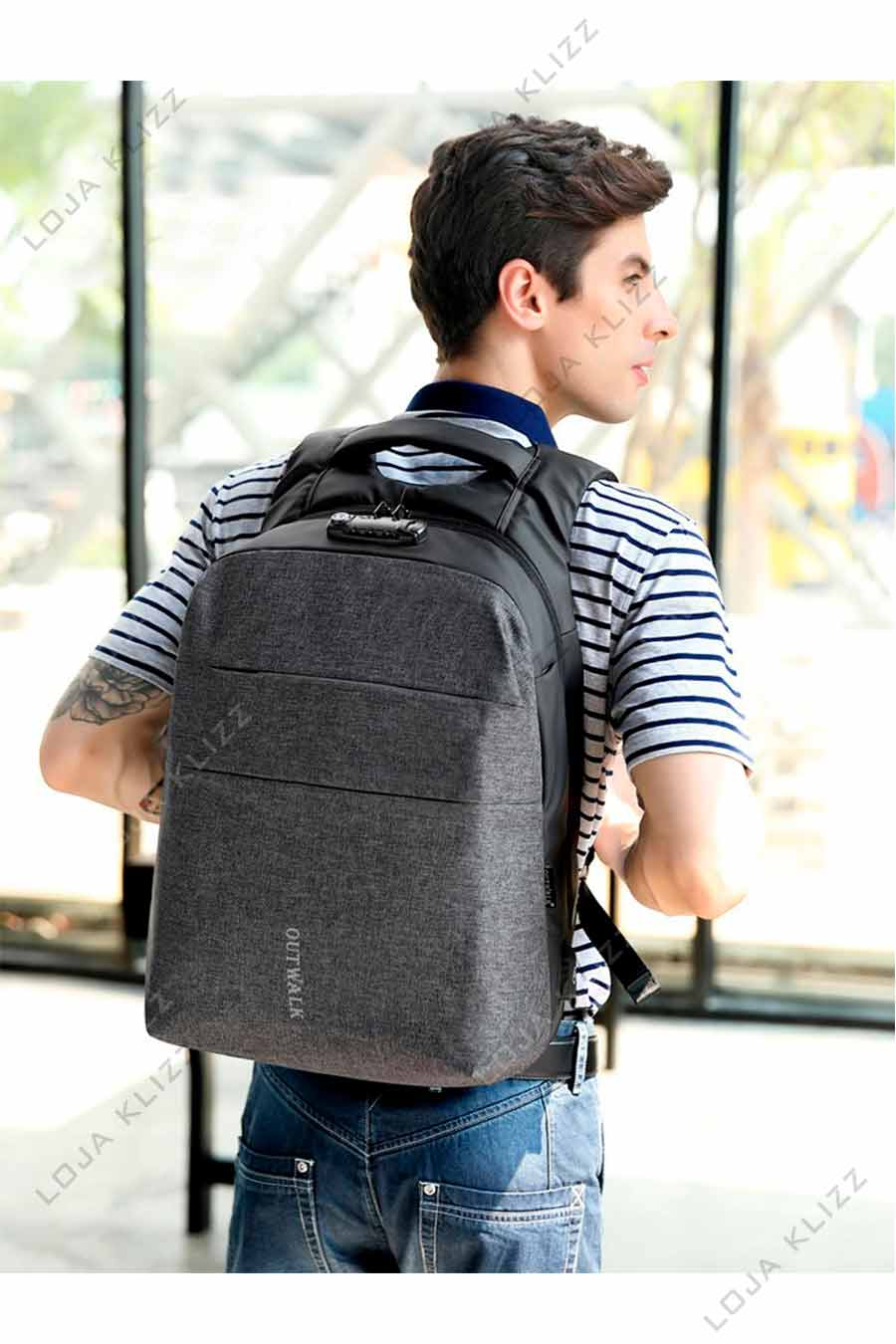 Mochila OTL Antifurto USB Notebook com Trava Zíper TSA  - KLIZZ