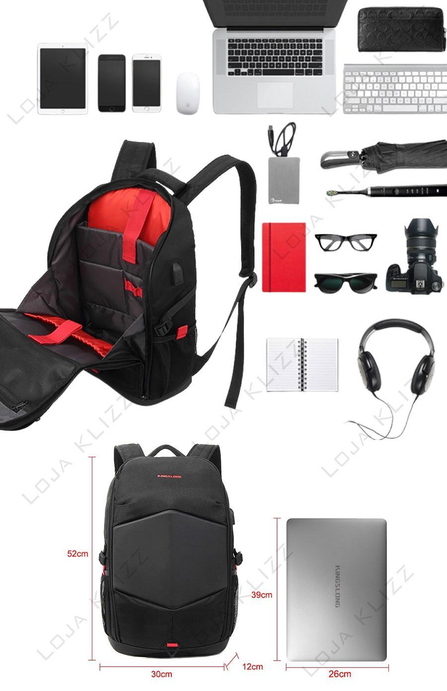 Mochila Para Notebook Gamer 17 Polegadas Com USB Impermeável