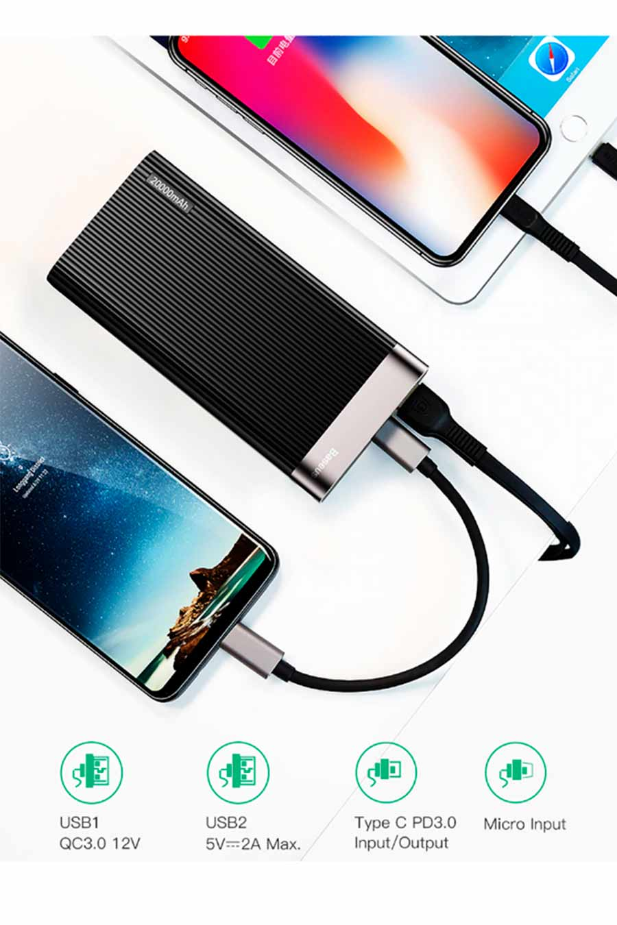 Power Bank Baseus Quick Charge 3.0 + PD 20000mAh Macbook  - KLIZZ