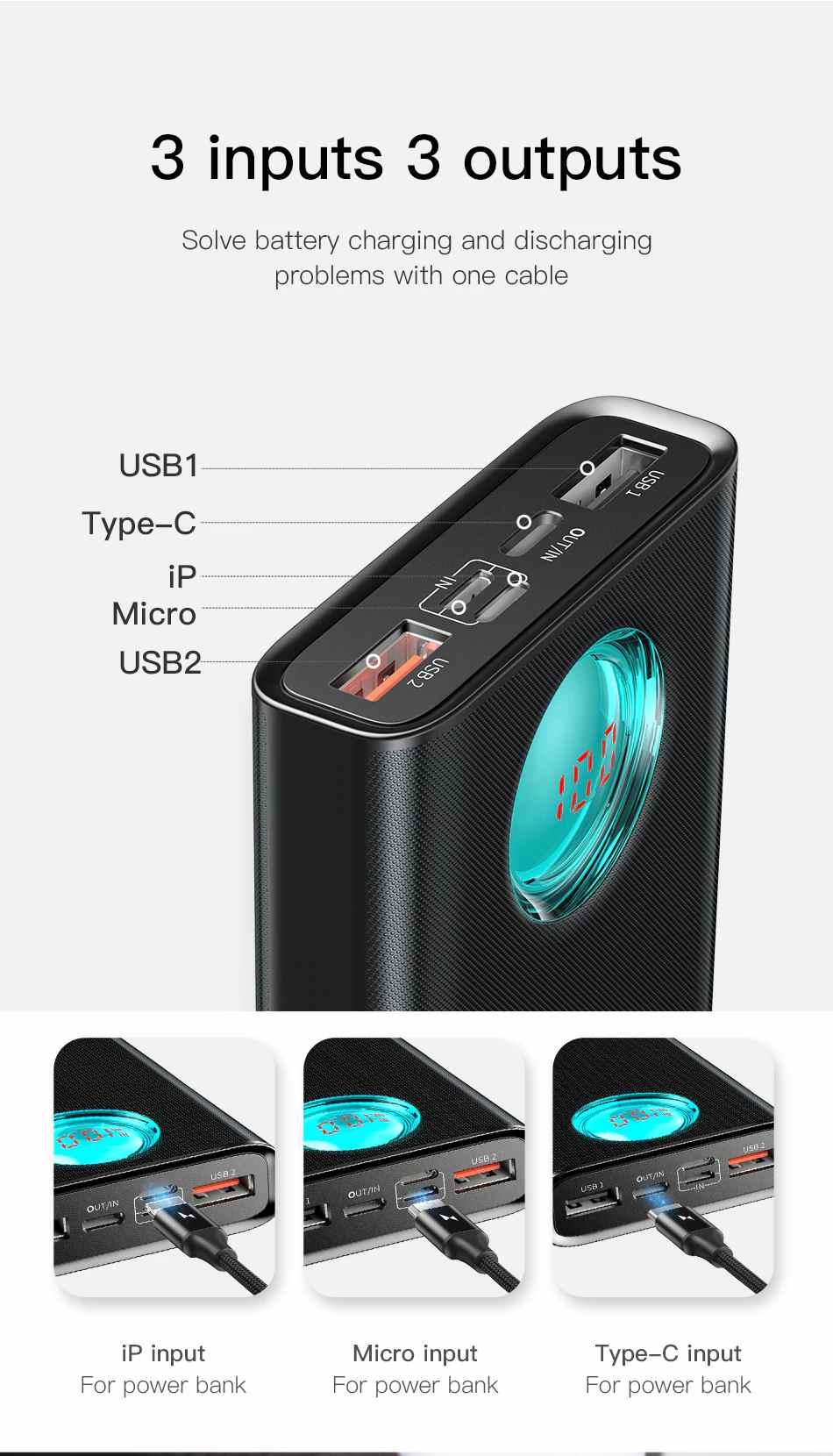 Power Bank Baseus Quick Charge 3.0 + PD 20000mAh Macbook