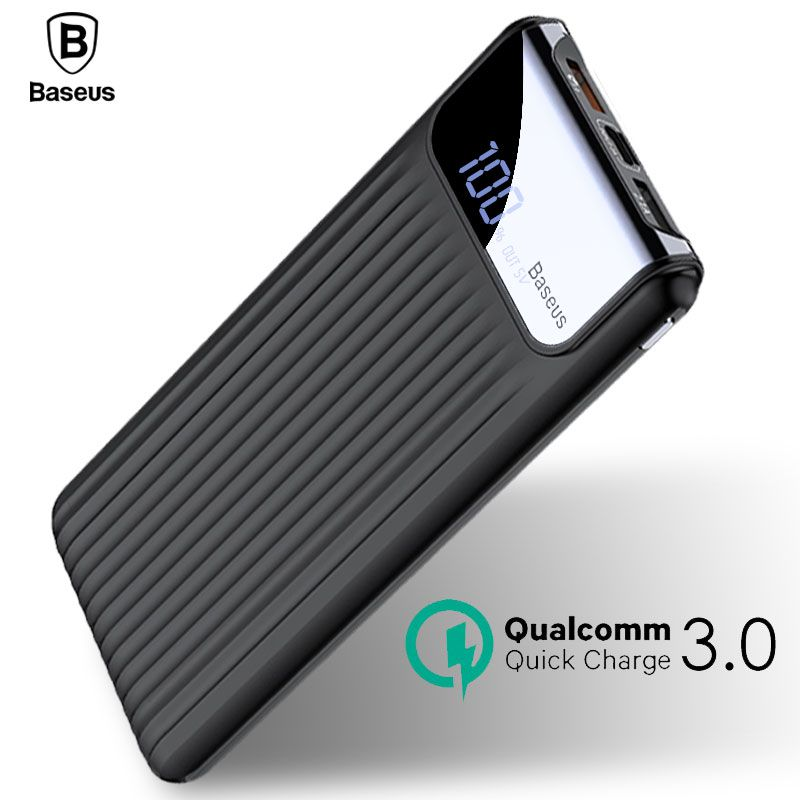 Power Bank Baseus Quick Charge 3.0 Tipo C Dual Saída 10000mah com Cabo  - KLIZZ