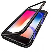 Capa alumínio Magnética Vidro Temperado  Iphone 7 Plus  8 Plus - Preta