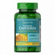 Curcuma  Turmeric 1000mg com Bioperine 5mg  Puritans Pride - 60 Cápsulas