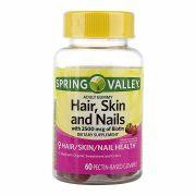 Hair, Skin & Nails com biotina  2500mcg à Base de Pectina Valley Morango - 60 Gummies