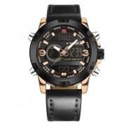 Relógio Masculino Naviforce NF9097 RGBB Pulseira em Couro - Preto e Dourado