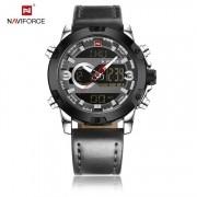 Relógio Masculino Naviforce NF9097 SGY Pulseira em Couro Â- Preto