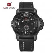 Relógio Masculino Naviforce NF9099 BWB Pulseira em Couro Â- Preto