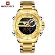Relógio Masculino Naviforce NF9163 GG Pulseira em Aço Inoxidável Â-Dourado