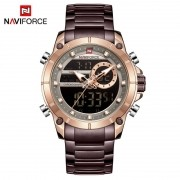 Relógio Masculino Naviforce NF9163 RGCE Pulseira em Aço Inoxidável Â- Marsala e Dourado Rose